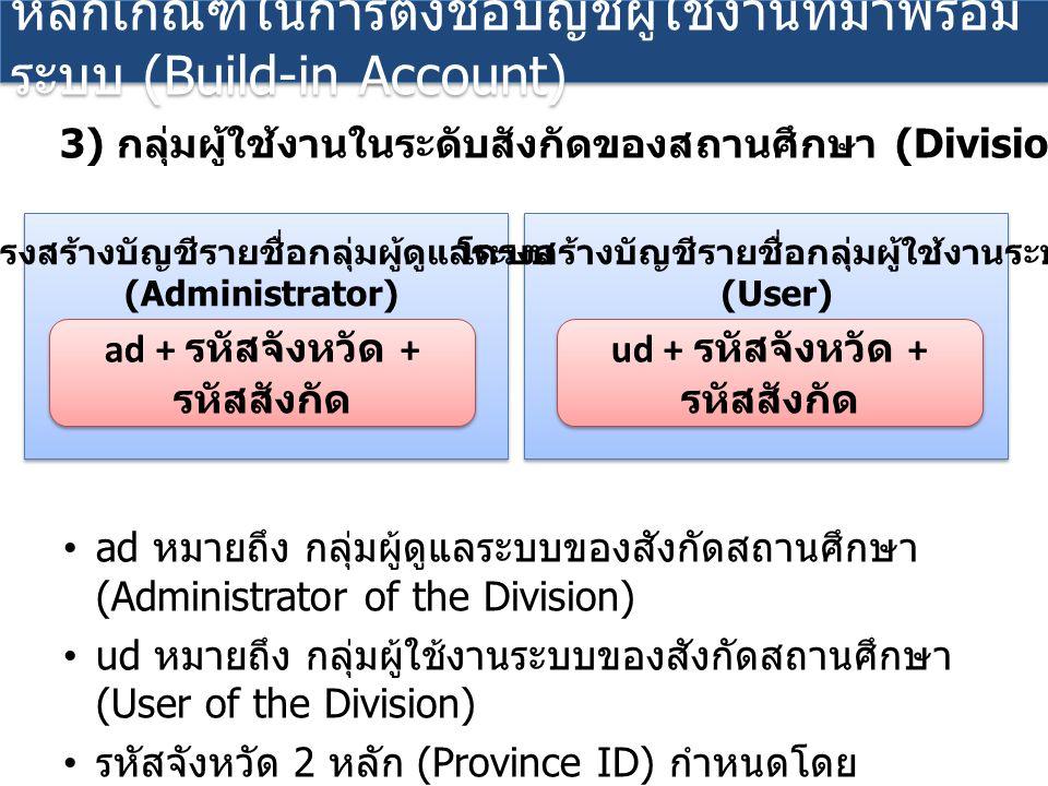 ad หมายถึง กลุ่มผู้ดูแลระบบของสังกัดสถานศึกษา (Administrator of the Division) ud หมายถึง กลุ่มผู้ใช้งานระบบของสังกัดสถานศึกษา (User of the Division) รหัสจังหวัด 2 หลัก (Province ID) กำหนดโดย กระทรวงศึกษาธิการ รหัสสังกัด 2 หลัก (Division ID) กำหนดโดย กระทรวงศึกษาธิการ หลักเกณฑ์ในการตั้งชื่อบัญชีผู้ใช้งานที่มาพร้อม ระบบ (Build-in Account) 3) กลุ่มผู้ใช้งานในระดับสังกัดของสถานศึกษา (Division) ad + รหัสจังหวัด + รหัสสังกัด โครงสร้างบัญชีรายชื่อกลุ่มผู้ดูแลระบบ (Administrator) ud + รหัสจังหวัด + รหัสสังกัด โครงสร้างบัญชีรายชื่อกลุ่มผู้ใช้งานระบบ (User)