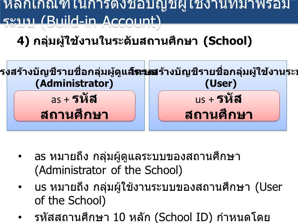 as หมายถึง กลุ่มผู้ดูแลระบบของสถานศึกษา (Administrator of the School) us หมายถึง กลุ่มผู้ใช้งานระบบของสถานศึกษา (User of the School) รหัสสถานศึกษา 10 หลัก (School ID) กำหนดโดย กระทรวงศึกษาธิการ หลักเกณฑ์ในการตั้งชื่อบัญชีผู้ใช้งานที่มาพร้อม ระบบ (Build-in Account) 4) กลุ่มผู้ใช้งานในระดับสถานศึกษา (School) as + รหัส สถานศึกษา โครงสร้างบัญชีรายชื่อกลุ่มผู้ดูแลระบบ (Administrator) us + รหัส สถานศึกษา โครงสร้างบัญชีรายชื่อกลุ่มผู้ใช้งานระบบ (User)