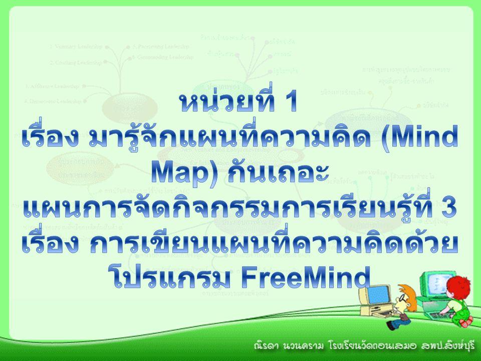 จุดประสงค์การเรียนรู้ 1.บอกประวัติ ความเป็นมาของโปรแกรม FreeMind ได้ 2.