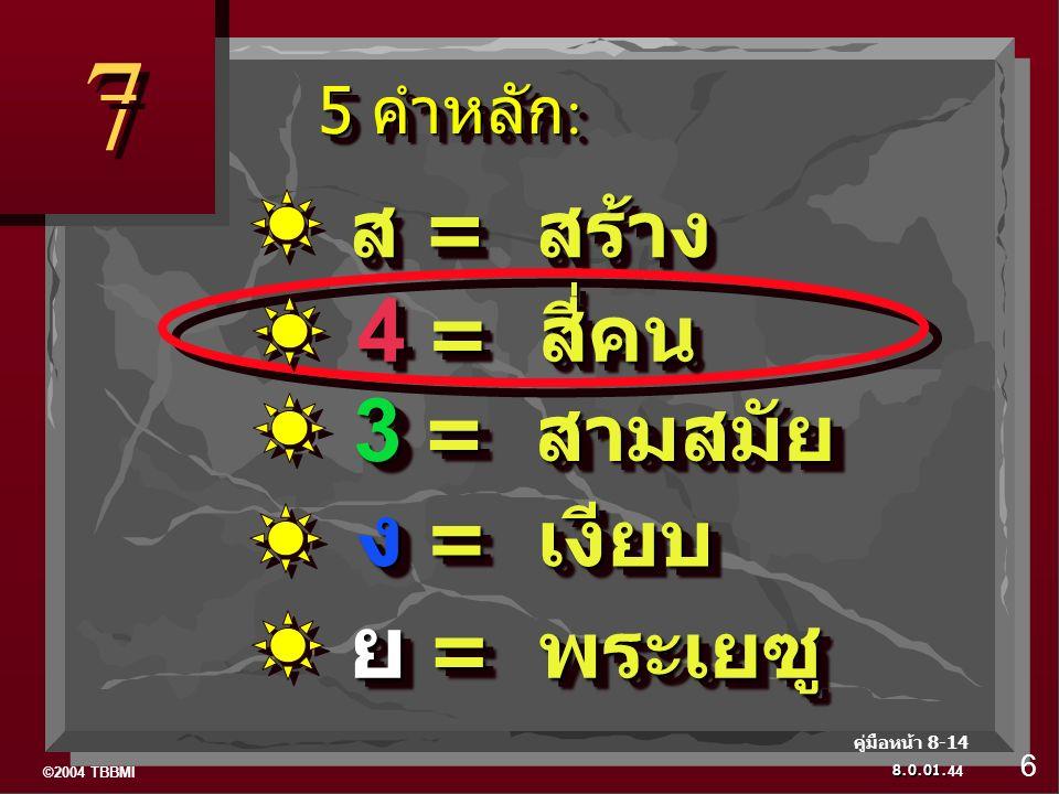©2004 TBBMI 8.0.01. 7 7 44 6 คู่มือหน้า 8-14 ส = สร้าง 4 = สี่คน 3 = สามสมัย ง = เงียบ ย = พระเยซู 5 คำหลัก : 5 คำหลัก :