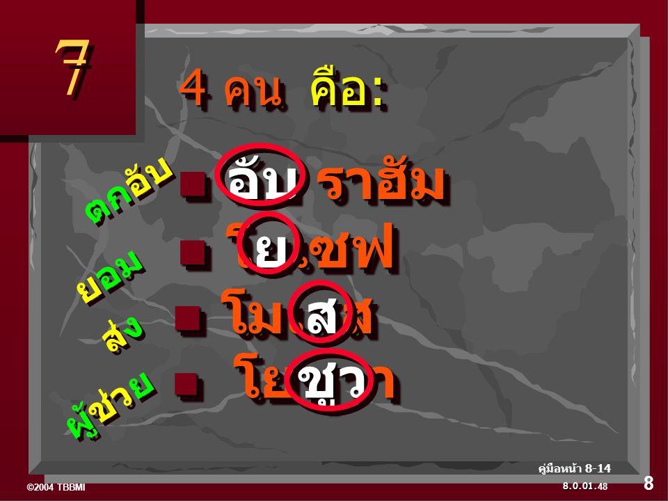 ©2004 TBBMI 8.0.01. โยชูวา โยชูวา โมเสส โมเสส โยเซฟ โยเซฟ อับ ราฮัม อับ ราฮัม 4 คน คือ : 4 คน คือ : 7 7 ผู้ช่วย ส่ง ยอม ตกอับ 48 8 คู่มือหน้า 8-14