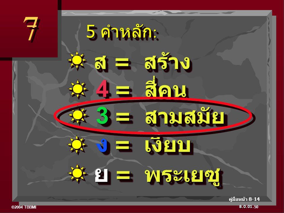 ©2004 TBBMI 8.0.01. 5 คำหลัก : 5 คำหลัก : 7 7 50 คู่มือหน้า 8-14 ย = พระเยซู ง = เงียบ 3 = สามสมัย 4 = สี่คน ส = สร้าง