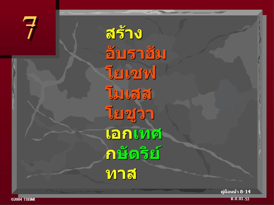 ©2004 TBBMI 8.0.01. 7 7 53 คู่มือหน้า 8-14 สร้าง อับราฮัม โยเซฟ โมเสส โยชูวา เอกเทศ กษัตริย์ ทาส