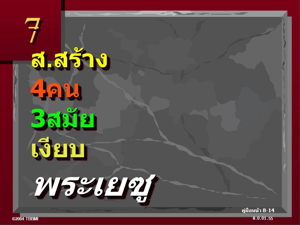 ©2004 TBBMI 8.0.01. ส. สร้าง 4 คน 3 สมัย เงียบ พระเยซู 7 7 55 คู่มือหน้า 8-14