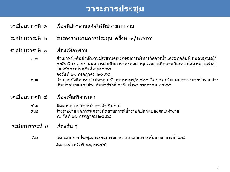 ผลการวิเคราะห์สมดุลน้ำ 26 กรกฎาคม 2555