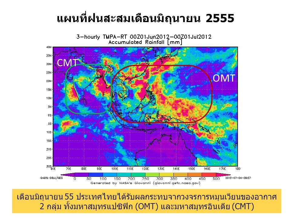 แผนที่ฝนสะสมเดือนมิถุนายน 2555 OMT CMT เดือนมิถุนายน 55 ประเทศไทยได้รับผลกระทบจากวงจรการหมุนเวียนของอากาศ 2 กลุ่ม ทั้งมหาสมุทรแปซิฟิก (OMT) และมหาสมุท