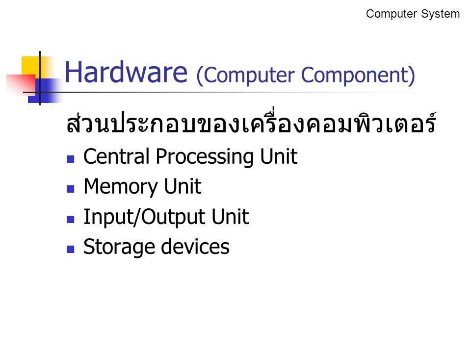 ส่วนประกอบของเครื่องคอมพิวเตอร์ Central Processing Unit Memory Unit Input/Output Unit Storage devices Hardware (Computer Component) Computer System