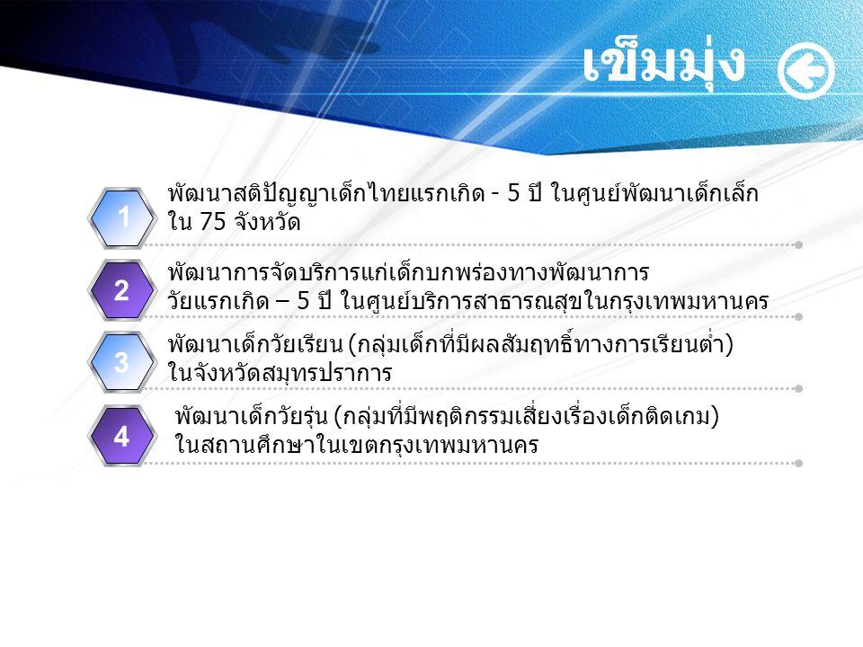 เข็มมุ่ง www.themegallery.com พัฒนาสติปัญญาเด็กไทยแรกเกิด - 5 ปี ในศูนย์พัฒนาเด็กเล็ก ใน 75 จังหวัด 1 พัฒนาการจัดบริการแก่เด็กบกพร่องทางพัฒนาการ วัยแร