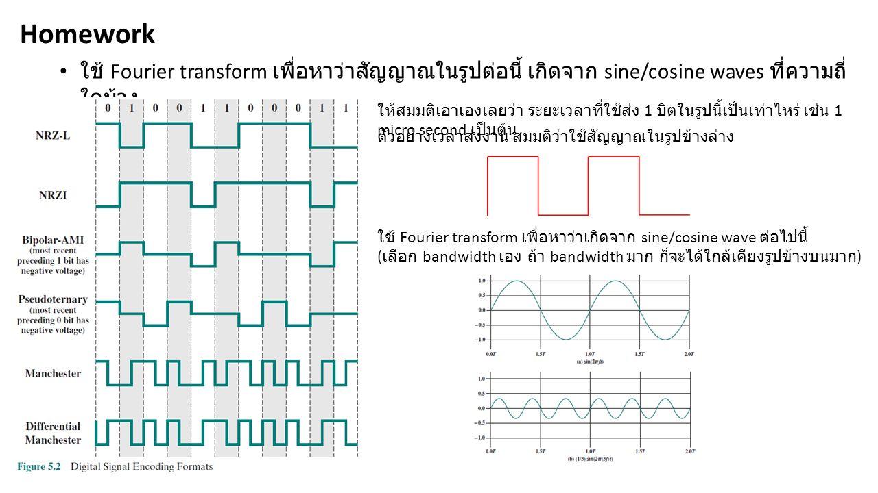 ใช้ Fourier transform เพื่อหาว่าสัญญาณในรูปต่อนี้ เกิดจาก sine/cosine waves ที่ความถี่ ใดบ้าง Homework ให้สมมติเอาเองเลยว่า ระยะเวลาที่ใช้ส่ง 1 บิตในรูปนี้เป็นเท่าไหร่ เช่น 1 micro second เป็นต้น ตัวอย่างเวลาส่งงาน สมมติว่าใช้สัญญาณในรูปข้างล่าง ใช้ Fourier transform เพื่อหาว่าเกิดจาก sine/cosine wave ต่อไปนี้ ( เลือก bandwidth เอง ถ้า bandwidth มาก ก็จะได้ใกล้เคียงรูปข้างบนมาก )