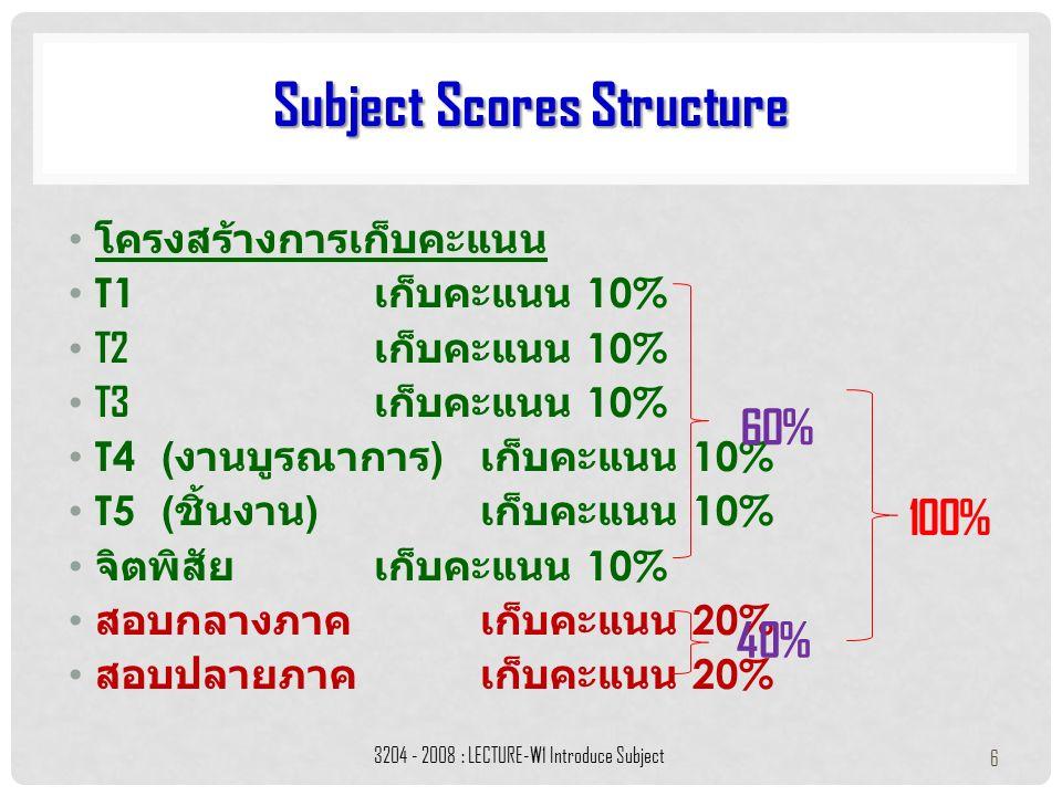 โครงสร้างการเก็บคะแนน T1 เก็บคะแนน 10% T2 เก็บคะแนน 10% T3 เก็บคะแนน 10% T4( งานบูรณาการ ) เก็บคะแนน 10% T5( ชิ้นงาน ) เก็บคะแนน 10% จิตพิสัยเก็บคะแนน 10% สอบกลางภาคเก็บคะแนน 20% สอบปลายภาคเก็บคะแนน 20% 3204 - 2008 : LECTURE-W1 Introduce Subject 6 60% 40% 100% Subject Scores Structure