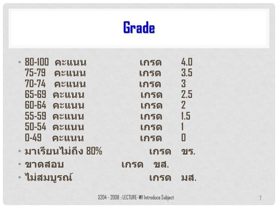 80-100 คะแนน เกรด 4.0 75-79 คะแนน เกรด 3.5 70-74 คะแนน เกรด 3 65-69 คะแนน เกรด 2.5 60-64 คะแนน เกรด 2 55-59 คะแนน เกรด 1.5 50-54 คะแนน เกรด 1 0-49 คะแนน เกรด 0 มาเรียนไม่ถึง 80% เกรด ขร.