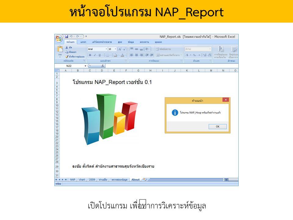 หน้าจอโปรแกรม NAP_Report เปิดโปรแกรม เพื่อทำการวิเคราะห์ข้อมูล