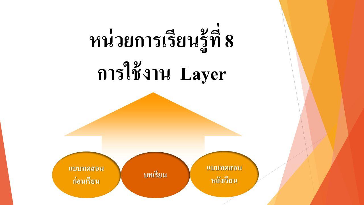 หน่วยการเรียนรู้ที่ 8 การใช้งาน Layer แบบทดสอน ก่อนเรียน แบบทดสอน ก่อนเรียน แบบทดสอน หลังเรียน แบบทดสอน หลังเรียน บทเรียน