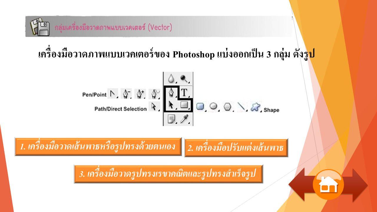 เครื่องมือวาดภาพแบบเวคเตอร์ของ Photoshop แบ่งออกเป็น 3 กลุ่ม ดังรูป 1.