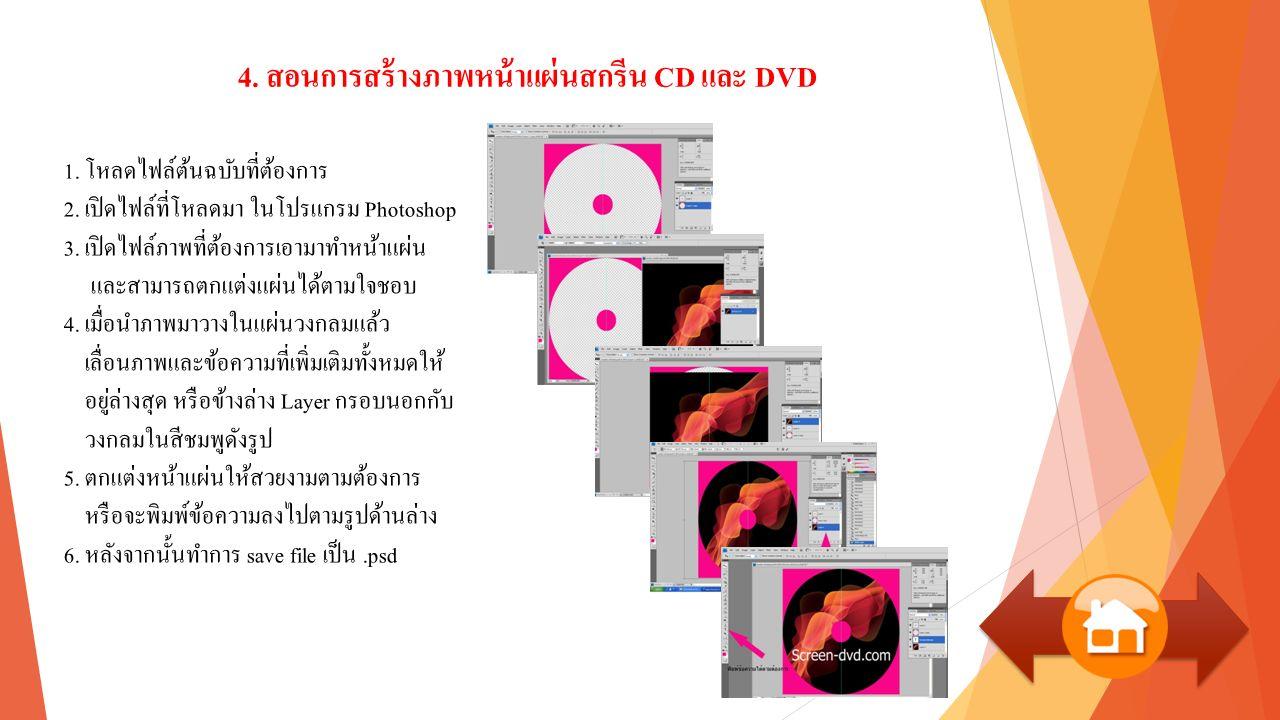 4. สอนการสร้างภาพหน้าแผ่นสกรีน CD และ DVD 1. โหลดไฟล์ต้นฉบับที่ต้องการ 2.