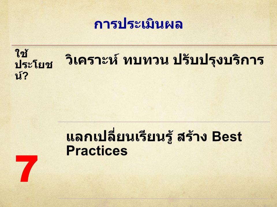 การประเมินผล ใช้ ประโยช น์ ? วิเคราะห์ ทบทวน ปรับปรุงบริการ แลกเปลี่ยนเรียนรู้ สร้าง Best Practices 7