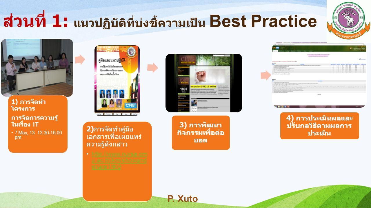 1) การจัดทำ โครงการ การจัดการความรู้ ในเรื่อง IT 7 May, 13 13.30-16.00 pm 2)การจัดทำคู่มือ เอกสารเพื่อเผยแพร่ ความรู้ดังกล่าว http://www.nurse.c mu.ac