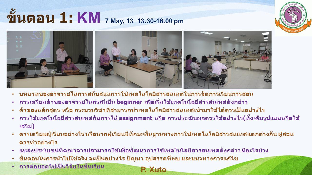 ขั้นตอน 1: KM 7 May, 13 13.30-16.00 pm บทบาทของอาจารย์ในการสนับสนุนการใช้เทคโนโลยีสารสนเทศในการจัดการเรียนการสอน การเตรียมตัวของอาจารย์ในกรณีเป็น begi