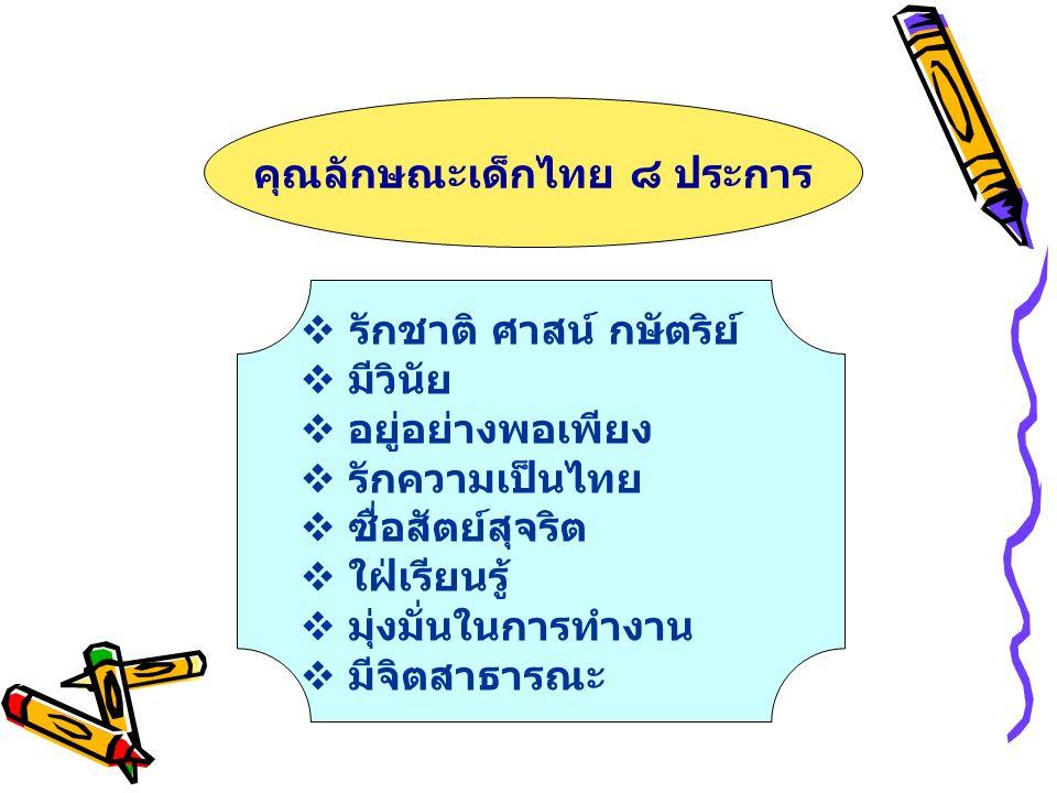 คุณลักษณะเด็กไทย ๘ ประการ  รักชาติ ศาสน์ กษัตริย์  มีวินัย  อยู่อย่างพอเพียง  รักความเป็นไทย  ซื่อสัตย์สุจริต  ใฝ่เรียนรู้  มุ่งมั่นในการทำงาน