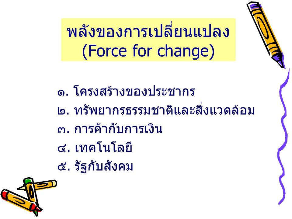 พลังของการเปลี่ยนแปลง (Force for change) ๑. โครงสร้างของประชากร ๒. ทรัพยากรธรรมชาติและสิ่งแวดล้อม ๓. การค้ากับการเงิน ๔. เทคโนโลยี ๕. รัฐกับสังคม