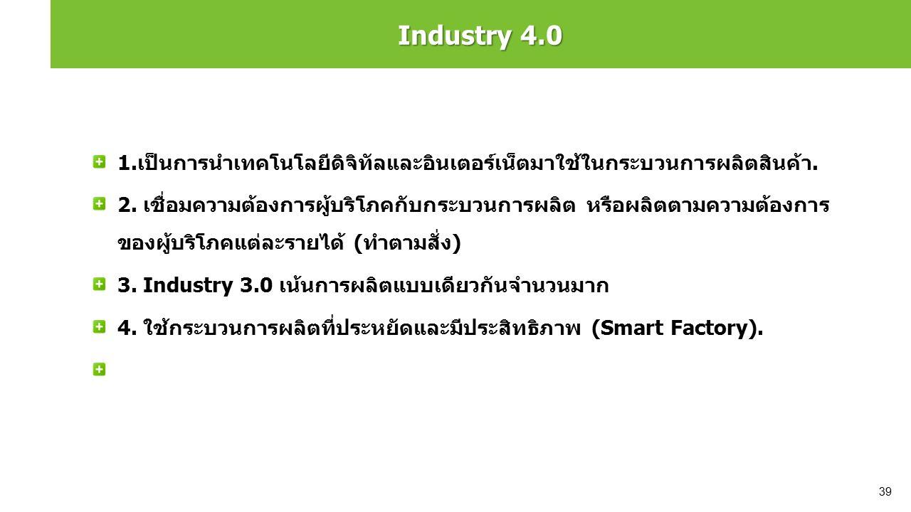 Industry 4.0 1.เป็นการนำเทคโนโลยีดิจิทัลและอินเตอร์เน็ตมาใช้ในกระบวนการผลิตสินค้า. 2. เชื่อมความต้องการผู้บริโภคกับกระบวนการผลิต หรือผลิตตามความต้องกา