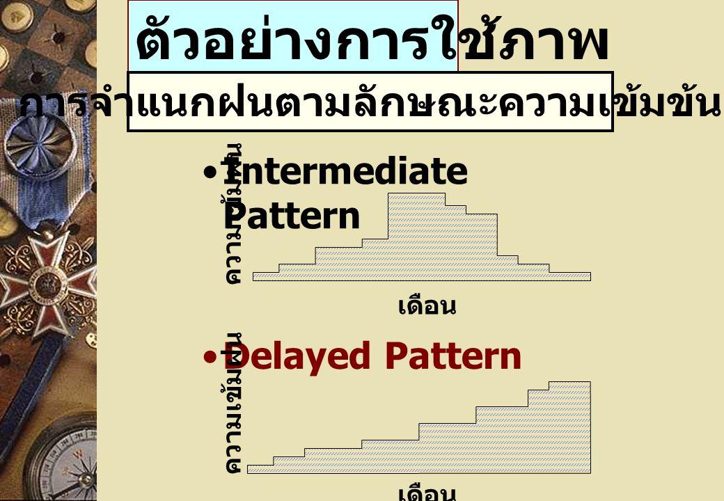 ตัวอย่างการใช้ภาพ Intermediate Pattern Delayed Pattern เดือน ความเข้มฝน เดือน ความเข้มฝน การจำแนกฝนตามลักษณะความเข้มข้น