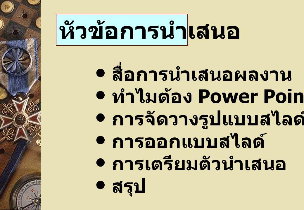 หัวข้อการนำเสนอ สื่อการนำเสนอผลงาน ทำไมต้อง Power Point .