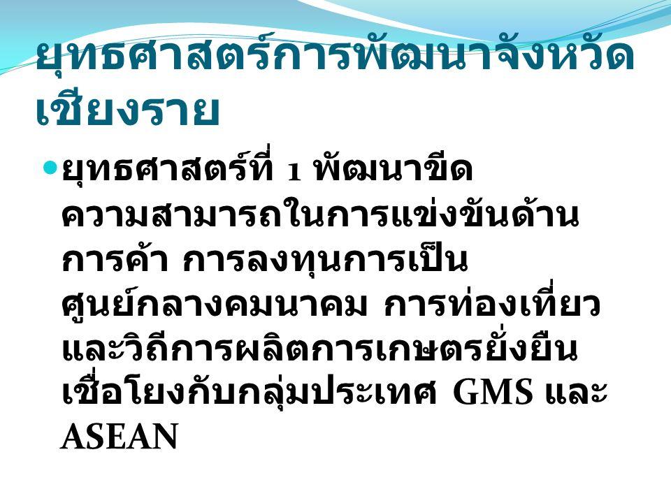ยุทธศาสตร์การพัฒนาจังหวัด เชียงราย ยุทธศาสตร์ที่ 1 พัฒนาขีด ความสามารถในการแข่งขันด้าน การค้า การลงทุนการเป็น ศูนย์กลางคมนาคม การท่องเที่ยว และวิถีการผลิตการเกษตรยั่งยืน เชื่อโยงกับกลุ่มประเทศ GMS และ ASEAN