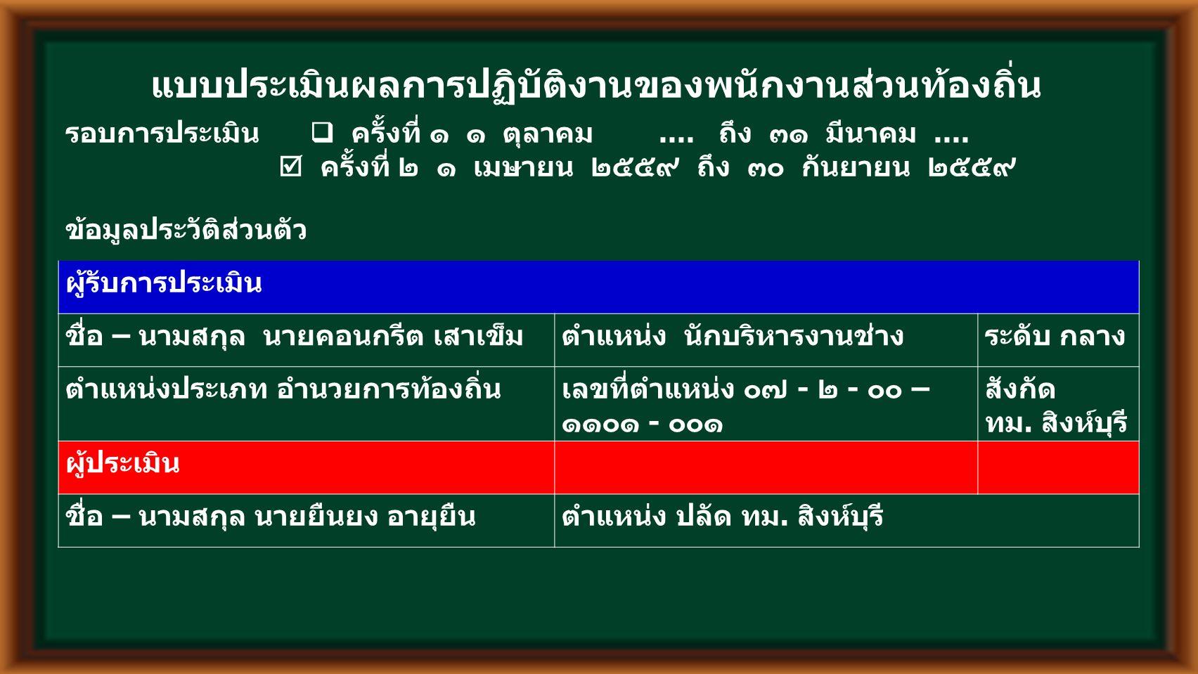 ส่วนที่ 1 ผลสัมฤทธิ์ของงาน ( ร้อยละ 70) โครงการ / งาน / กิจกรรม (1) น้ำห นัก (2) เป้าหมาย (3) คะแนนผลการปฏิบัติงาน (7) รวมคะแนน ผลการ ปฏิบัติงาน (11) ผลสัมฤทธิ์ของ งาน (12) = (2) x (11) 10 เหตุผลที่ ทำให้งาน สำเร็จ / ไม่ สำเร็จ (13) เชิง ปริมา ณ (4) เชิง คุณภา พ (5) เชิง ประโย ชน์ (6) เชิง ปริมาณ (8) เชิง คุณภา พ (9) เชิง ประโย ชน์ (10) 1.