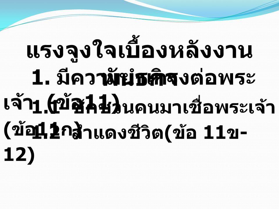ก.ให้เป็นที่ประจักษ์ต่อพระ พักตร์พระเจ้า ( ข้อ 11 ข ) ข.