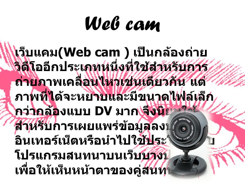 Web cam เว็บแคม (Web cam ) เป็นกล้องถ่าย วิดีโออีกประเภทหนึ่งที่ใช้สำหรับการ ถ่ายภาพเคลื่อนไหวเช่นเดียวกัน แต่ ภาพที่ได้จะหยาบและมีขนาดไฟล์เล็ก กว่ากล้องแบบ DV มาก จึงนิยมใช้ สำหรับการเผยแพร่ข้อมูลลงบน อินเทอร์เน็ตหรือนำไปใช้ประโยชน์กับ โปรแกรมสนทนาบนเว็บบางประเภท เพื่อให้เห็นหน้าตาของคู่สนทนา