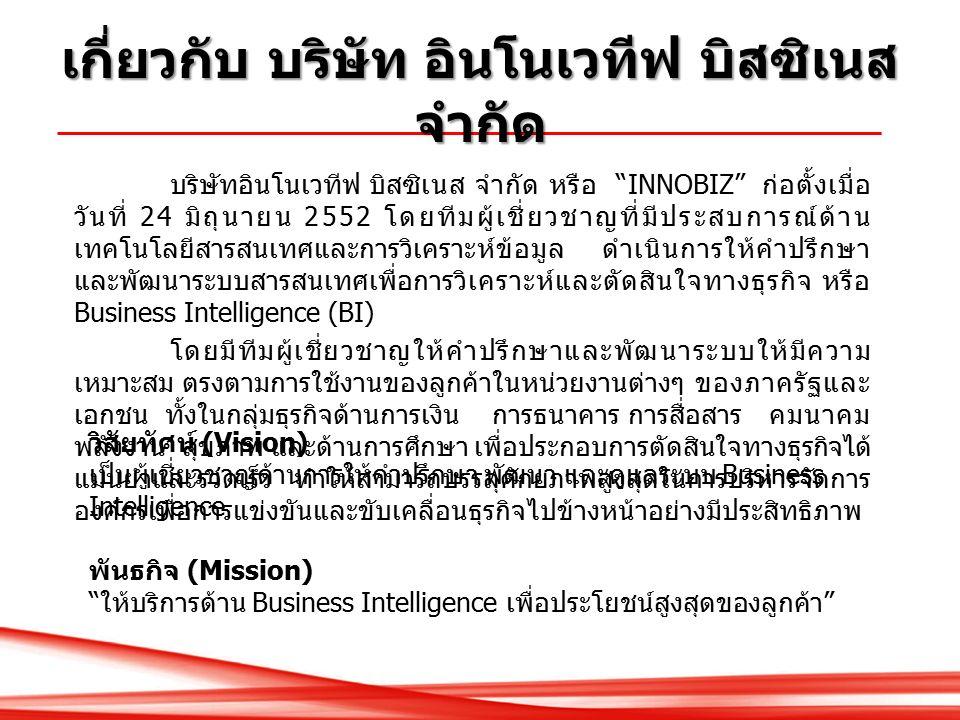 บริษัทอินโนเวทีฟ บิสซิเนส จำกัด หรือ INNOBIZ ก่อตั้งเมื่อ วันที่ 24 มิถุนายน 2552 โดยทีมผู้เชี่ยวชาญที่มีประสบการณ์ด้าน เทคโนโลยีสารสนเทศและการวิเคราะห์ข้อมูล ดำเนินการให้คำปรึกษา และพัฒนาระบบสารสนเทศเพื่อการวิเคราะห์และตัดสินใจทางธุรกิจ หรือ Business Intelligence (BI) โดยมีทีมผู้เชี่ยวชาญให้คำปรึกษาและพัฒนาระบบให้มีความ เหมาะสม ตรงตามการใช้งานของลูกค้าในหน่วยงานต่างๆ ของภาครัฐและ เอกชน ทั้งในกลุ่มธุรกิจด้านการเงิน การธนาคาร การสื่อสาร คมนาคม พลังงาน สุขภาพ และด้านการศึกษา เพื่อประกอบการตัดสินใจทางธุรกิจได้ แม่นยำและรวดเร็ว ทำให้สามารถบรรลุศักยภาพสูงสุดในการบริหารจัดการ องค์กรเพื่อการแข่งขันและขับเคลื่อนธุรกิจไปข้างหน้าอย่างมีประสิทธิภาพ วิสัยทัศน์ (Vision) เป็นผู้เชี่ยวชาญด้านการให้คำปรึกษา พัฒนา และดูแลระบบ Business Intelligence พันธกิจ (Mission) ให้บริการด้าน Business Intelligence เพื่อประโยชน์สูงสุดของลูกค้า เกี่ยวกับ บริษัท อินโนเวทีฟ บิสซิเนส จำกัด