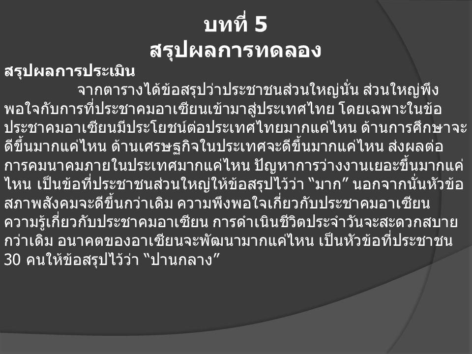 บทที่ 5 สรุปผลการทดลอง สรุปผลการประเมิน จากตารางได้ข้อสรุปว่าประชาชนส่วนใหญ่นั่น ส่วนใหญ่พึง พอใจกับการที่ประชาคมอาเซียนเข้ามาสู่ประเทศไทย โดยเฉพาะในข้อ ประชาคมอาเซียนมีประโยชน์ต่อประเทศไทยมากแค่ไหน ด้านการศึกษาจะ ดีขึ้นมากแค่ไหน ด้านเศรษฐกิจในประเทศจะดีขึ้นมากแค่ไหน ส่งผลต่อ การคมนาคมภายในประเทศมากแค่ไหน ปัญหาการว่างงานเยอะขึ้นมากแค่ ไหน เป็นข้อที่ประชาชนส่วนใหญ่ให้ข้อสรุปไว้ว่า มาก นอกจากนั่นหัวข้อ สภาพสังคมจะดีขึ้นกว่าเดิม ความพึงพอใจเกี่ยวกับประชาคมอาเซียน ความรู้เกี่ยวกับประชาคมอาเซียน การดำเนินชีวิตประจำวันจะสะดวกสบาย กว่าเดิม อนาคตของอาเซียนจะพัฒนามากแค่ไหน เป็นหัวข้อที่ประชาชน 30 คนให้ข้อสรุปไว้ว่า ปานกลาง
