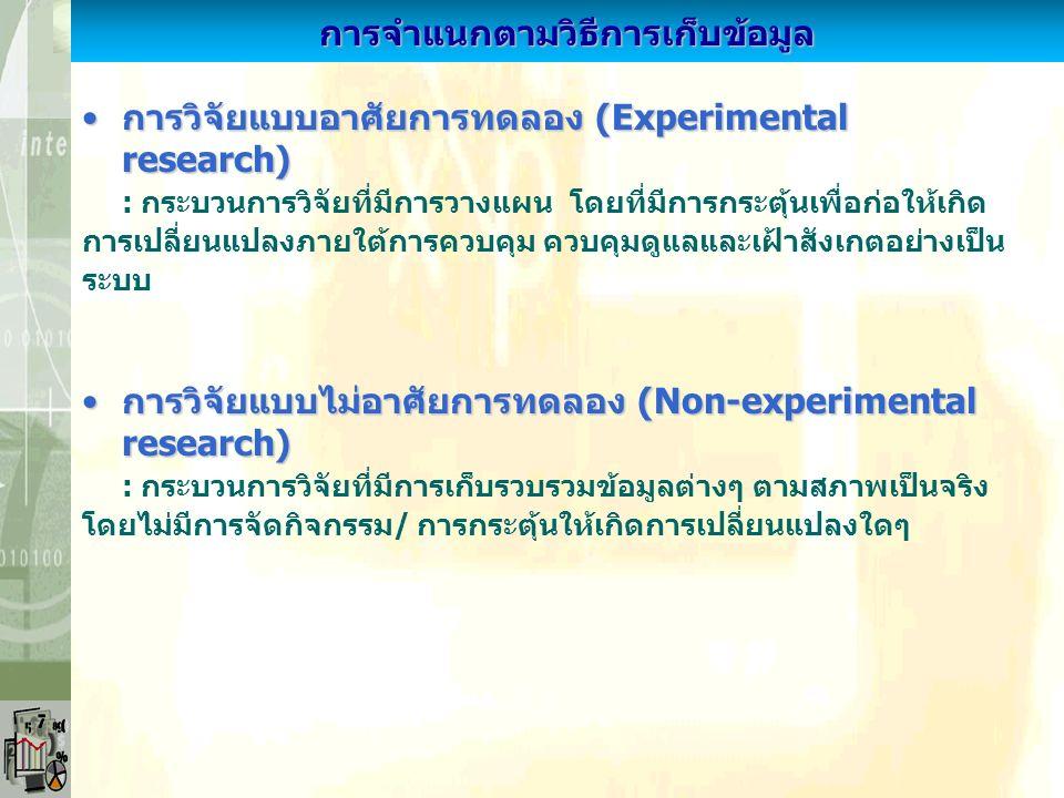 การวิจัยเชิงพรรณนา (Descriptive research)การวิจัยเชิงพรรณนา (Descriptive research) : การวิจัยมุ่งพรรณนาสภาพที่เป็นอยู่ ลักษณะสำคัญของปรากฏการณ์ หรือพฤติกรรมเกิดขึ้น การวิจัยเชิงอธิบาย (Explanatory research)การวิจัยเชิงอธิบาย (Explanatory research) : การวิจัยมุ่งอธิบายสาเหตุการเกิดขึ้นสภาพที่เป็นอยู่ของปรากฏการณ์ หรือพฤติกรรม โดยหาความเป็นเหตุผลการจำแนกตามวัตถุประสงค์การวิจัย