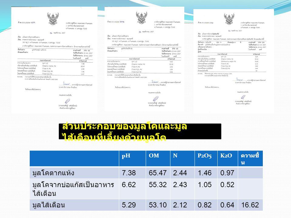 pHOMNP2O5K2O ความชื้ น มูลโคตากแห้ง 7.3865.472.441.460.97 มูลโคจากบ่อแก๊สเป็นอาหาร ไส้เดือน 6.6255.322.431.050.52 มูลไส้เดือน 5.2953.102.120.820.6416.62 ส่วนประกอบของมูลโคและมูล ไส้เดือนที่เลี้ยงด้วยมูลโค