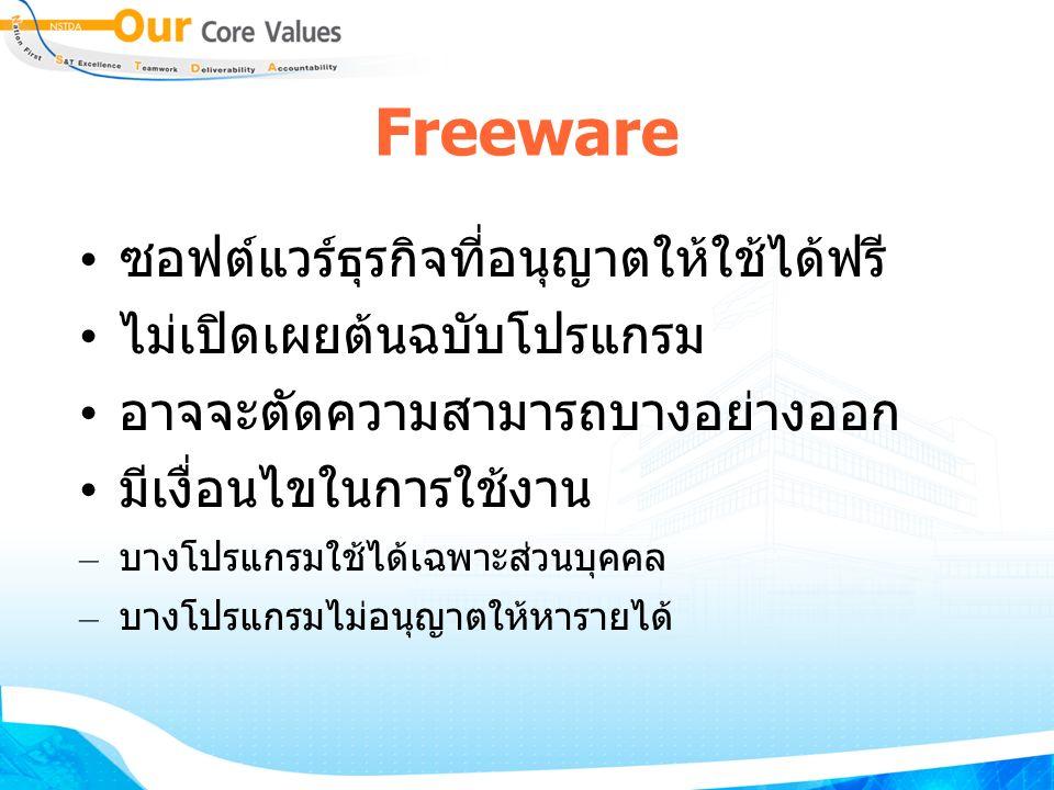 Freeware ซอฟต์แวร์ธุรกิจที่อนุญาตให้ใช้ได้ฟรี ไม่เปิดเผยต้นฉบับโปรแกรม อาจจะตัดความสามารถบางอย่างออก มีเงื่อนไขในการใช้งาน – บางโปรแกรมใช้ได้เฉพาะส่วนบุคคล – บางโปรแกรมไม่อนุญาตให้หารายได้