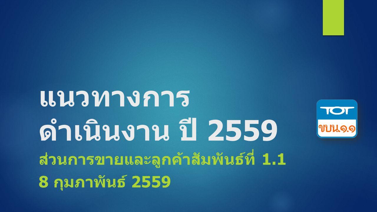 แนวทางการ ดำเนินงาน ปี 2559 ส่วนการขายและลูกค้าสัมพันธ์ที่ 1.1 8 กุมภาพันธ์ 2559