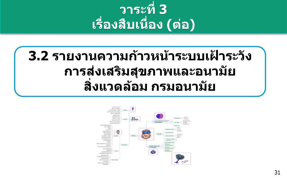 วาระที่ 3 เรื่องสืบเนื่อง (ต่อ) 31 3.2 รายงานความก้าวหน้าระบบเฝ้าระวัง การส่งเสริมสุขภาพและอนามัย สิ่งแวดล้อม กรมอนามัย
