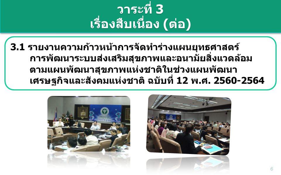 6 วาระที่ 3 เรื่องสืบเนื่อง (ต่อ) 3.1 รายงานความก้าวหน้าการจัดทำร่างแผนยุทธศาสตร์ การพัฒนาระบบส่งเสริมสุขภาพและอนามัยสิ่งแวดล้อม ตามแผนพัฒนาสุขภาพแห่งชาติในช่วงแผนพัฒนา เศรษฐกิจและสังคมแห่งชาติ ฉบับที่ 12 พ.ศ.