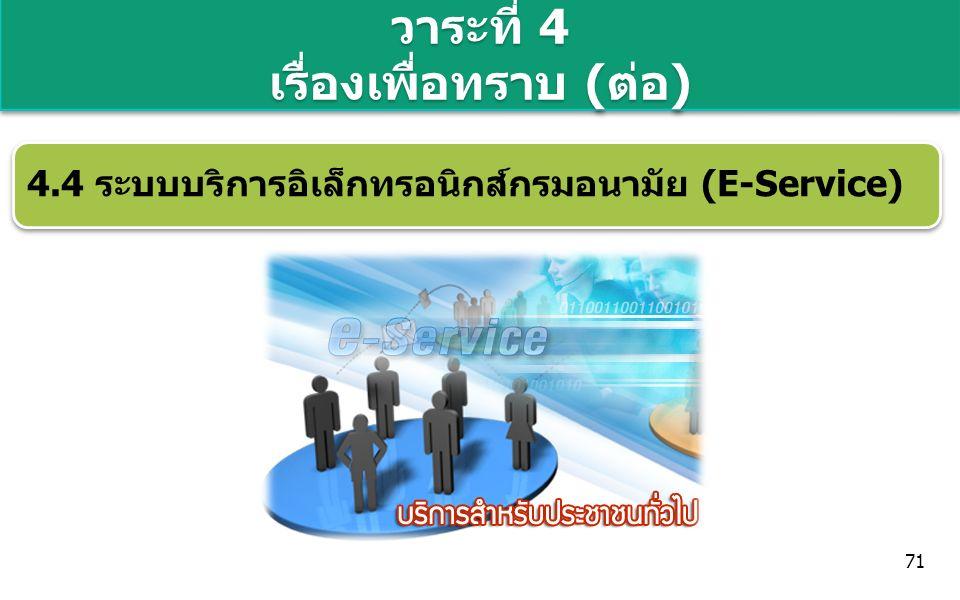 วาระที่ 4 เรื่องเพื่อทราบ (ต่อ) 4.4 ระบบบริการอิเล็กทรอนิกส์กรมอนามัย (E-Service) 71