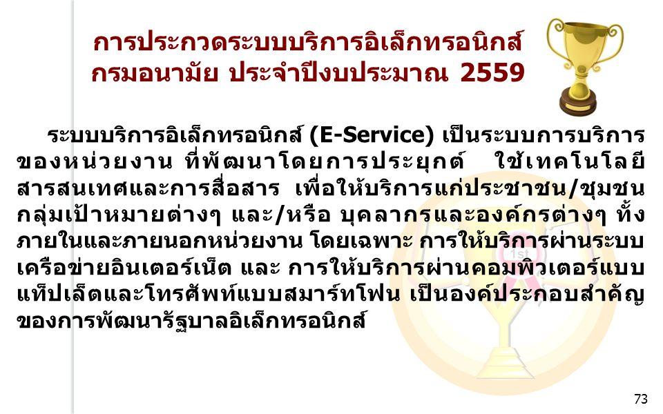 การประกวดระบบบริการอิเล็กทรอนิกส์ กรมอนามัย ประจำปีงบประมาณ 2559 ระบบบริการอิเล็กทรอนิกส์ (E-Service) เป็นระบบการบริการ ของหน่วยงาน ที่พัฒนาโดยการประยุกต์ ใช้เทคโนโลยี สารสนเทศและการสื่อสาร เพื่อให้บริการแก่ประชาชน/ชุมชน กลุ่มเป้าหมายต่างๆ และ/หรือ บุคลากรและองค์กรต่างๆ ทั้ง ภายในและภายนอกหน่วยงาน โดยเฉพาะ การให้บริการผ่านระบบ เครือข่ายอินเตอร์เน็ต และ การให้บริการผ่านคอมพิวเตอร์แบบ แท็ปเล็ตและโทรศัพท์แบบสมาร์ทโฟน เป็นองค์ประกอบสำคัญ ของการพัฒนารัฐบาลอิเล็กทรอนิกส์ 73