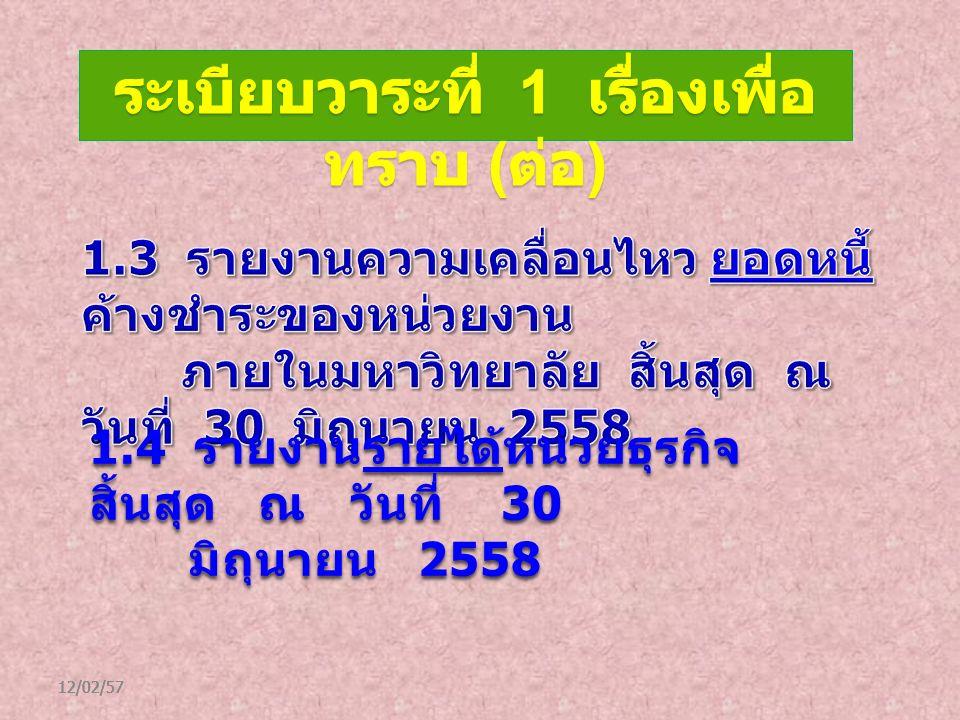 12/02/57 1.4 รายงานรายได้หน่วยธุรกิจ สิ้นสุด ณ วันที่ 30 รายได้ มิถุนายน 2558 มิถุนายน 2558