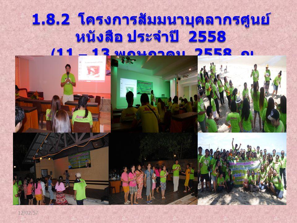 12/02/57 1.8.2 โครงการสัมมนาบุคลากรศูนย์ หนังสือ ประจำปี 2558 (11 – 13 พฤษภาคม 2558 ณ จังหวัดระยอง ) (11 – 13 พฤษภาคม 2558 ณ จังหวัดระยอง )