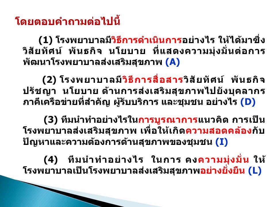 (2) โรงพยาบาล ภาคีเครือข่ายภาครัฐ ภาคเอกชน องค์กรปกครองส่วนท้องถิ่นและชุมชนมีการ ดำเนินการ อย่างไร(D)ในการบูรณาการงานส่งเสริมสุขภาพในชุมชน ตัวอย่างองค์ประกอบ 6.1(ต่อ) โรงพยาบาล ภาคีเครือข่ายภาครัฐ ภาคเอกชน องค์กร ปกครองส่วนท้องถิ่นและชุมชนมีการบูรณาการงานส่งเสริม สุขภาพในชุมชน ด้วยการวิเคราะห์ชุมชน วินิจฉัยชุมชน และจัดทำแผนที่ทางเดินยุทธศาสตร์ เพื่อกำหนดแผนงาน โครงการ ในการส่งเสริมสุขภาพในชุมชน โดยการมีส่วน ร่วมของผู้ที่เกี่ยวข้องจากภาคีเครือข่ายทั้งภาครัฐ ภาคเอกชนและตัวแทนจากภาคประชาชน ค้นหาศักยภาพ ของชุมชนในพื้นที่ หาจุดแข็ง จุดอ่อนของชุมชน โดยมี เจ้าหน้าที่ผู้รับผิดชอบชุมชน ร่วมศึกษาและตั้งเป้าหมาย ร่วมกัน
