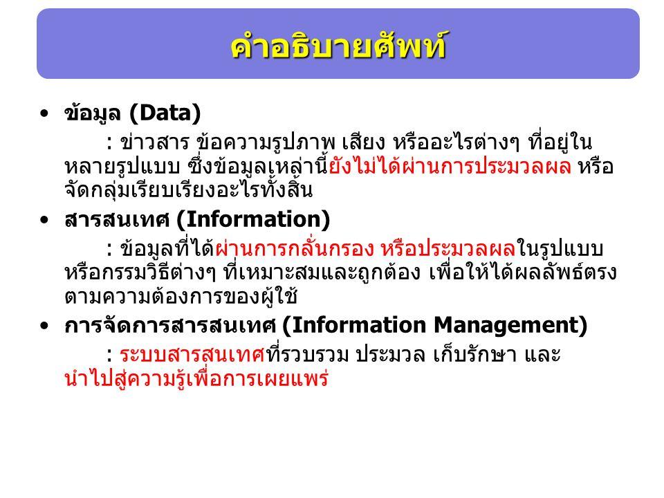 ข้อมูล (Data) : ข่าวสาร ข้อความรูปภาพ เสียง หรืออะไรต่างๆ ที่อยู่ใน หลายรูปแบบ ซึ่งข้อมูลเหล่านี้ยังไม่ได้ผ่านการประมวลผล หรือ จัดกลุ่มเรียบเรียงอะไรทั้งสิ้น สารสนเทศ (Information) : ข้อมูลที่ได้ผ่านการกลั่นกรอง หรือประมวลผลในรูปแบบ หรือกรรมวิธีต่างๆ ที่เหมาะสมและถูกต้อง เพื่อให้ได้ผลลัพธ์ตรง ตามความต้องการของผู้ใช้ การจัดการสารสนเทศ (Information Management) : ระบบสารสนเทศที่รวบรวม ประมวล เก็บรักษา และ นำไปสู่ความรู้เพื่อการเผยแพร่ คำอธิบายศัพท์
