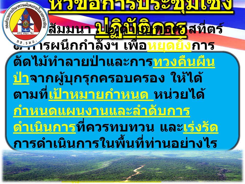 ๑. โครงการป้องกันและปราบปรามการตัดไม้ ทำลายป่าระดับจังหวัด