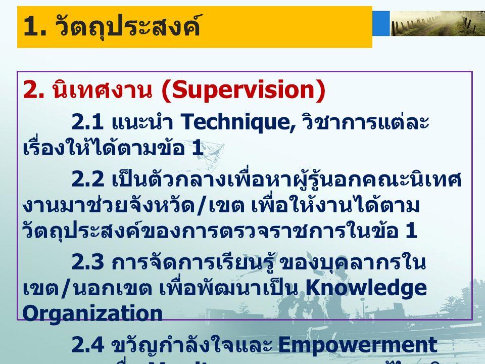 2. นิเทศงาน (Supervision) 2.1 แนะนำ Technique, วิชาการแต่ละ เรื่องให้ได้ตามข้อ 1 2.2 เป็นตัวกลางเพื่อหาผู้รู้นอกคณะนิเทศ งานมาช่วยจังหวัด / เขต เพื่อใ