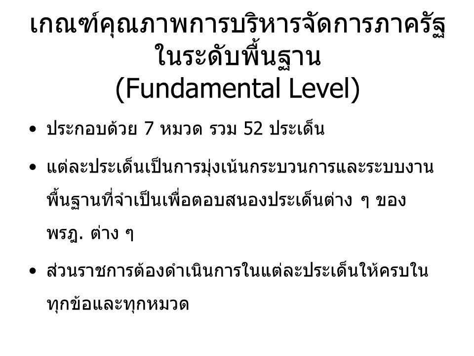 เกณฑ์คุณภาพการบริหารจัดการภาครัฐ ในระดับพื้นฐาน (Fundamental Level) ประกอบด้วย 7 หมวด รวม 52 ประเด็น แต่ละประเด็นเป็นการมุ่งเน้นกระบวนการและระบบงาน พื้นฐานที่จำเป็นเพื่อตอบสนองประเด็นต่าง ๆ ของ พรฎ.