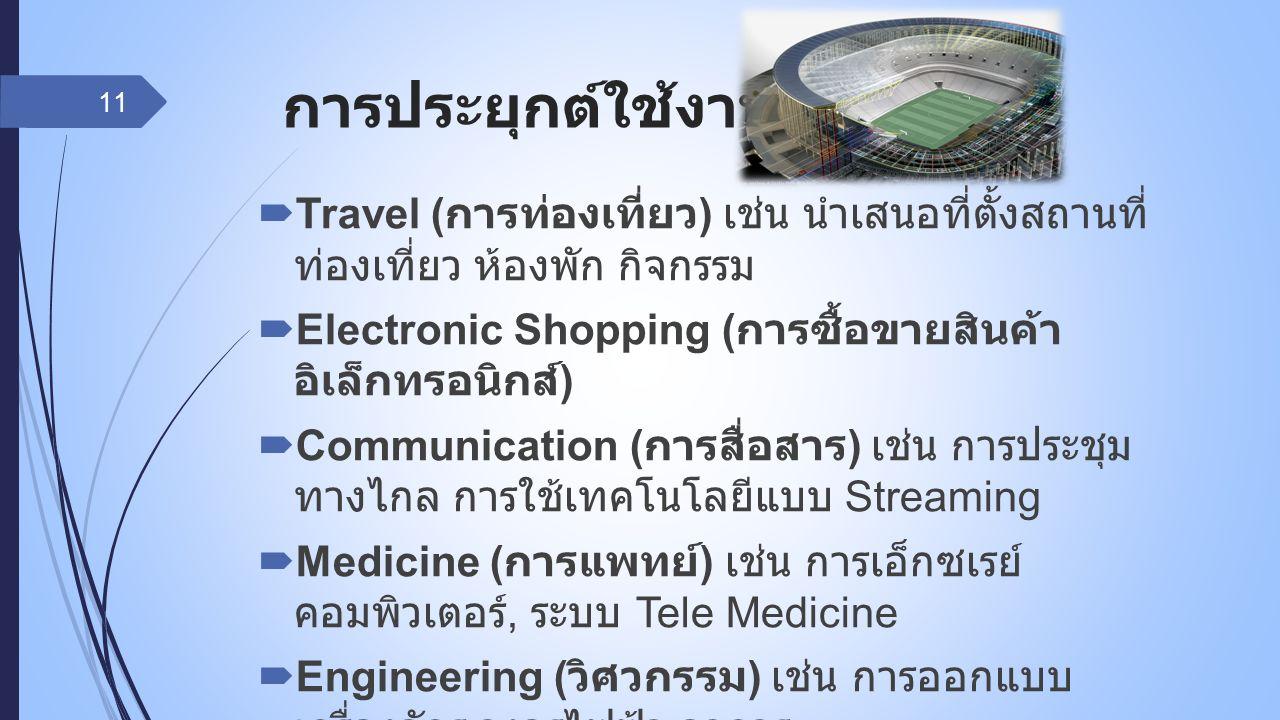 การประยุกต์ใช้งาน ( ต่อ )  Travel ( การท่องเที่ยว ) เช่น นำเสนอที่ตั้งสถานที่ ท่องเที่ยว ห้องพัก กิจกรรม  Electronic Shopping ( การซื้อขายสินค้า อิเ