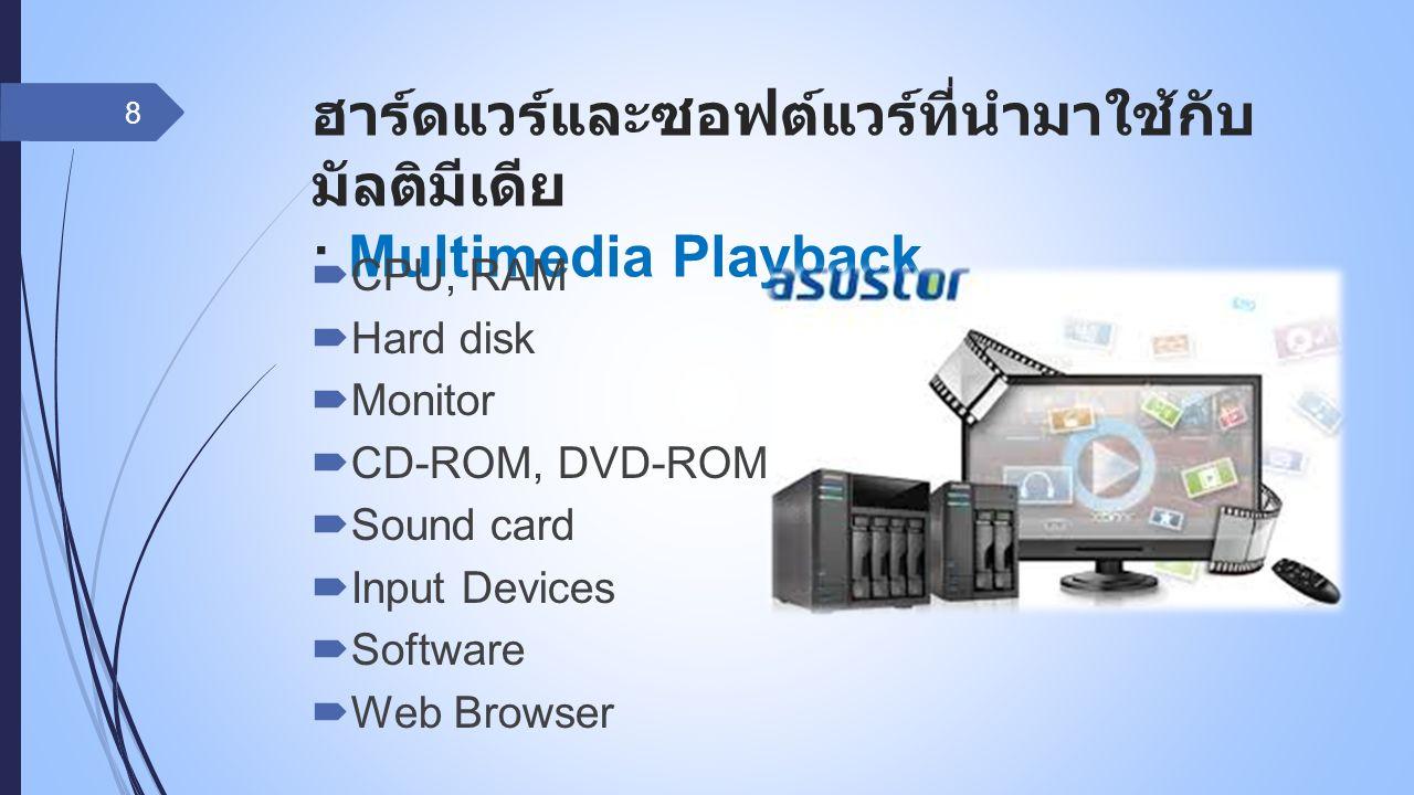 ฮาร์ดแวร์และซอฟต์แวร์ที่นำมาใช้กับ มัลติมีเดีย : Multimedia Playback  CPU, RAM  Hard disk  Monitor  CD-ROM, DVD-ROM Drive  Sound card  Input Dev